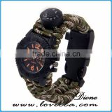 Survival Paracord Outdoor Bracelet Multifunction Watch With Compass Thermometer Whistle