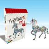 newly-developed 3D painting paper puzzle horse for kids LT8881C