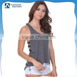 Custom single jersey striped contrast short front long back fitness women gym tank top