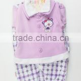 New Design Purple Knitted Winter Long Sleeve Top+Romper + Bid + Hat 6Pcs Baby Girls Clothing Gift Set With Hanger Package