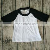 Autumn latest wholesale black with white raglan T-shirts latest shirt designs for baby 2016