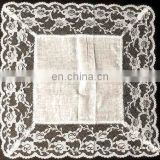 100% cotton handkerchief with wide lace edge for ladies