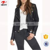 High Quality Custom Your Deisgn Women Fashion Motocycle Biker Black Short Genuine Leather Jacket Made in China