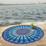"72"" Handmade Indian Round Tapestries With Pom-Pom Lace Beach Throw Table Cover Wall Hanging Picnic Yoga Mat Rounds Decor"