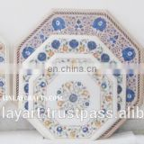 Marble Stone Inlaid Coffee Tables Tops, Pure White Marble Inlay Tables