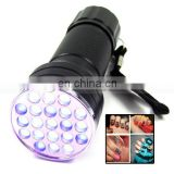 395nm UV Ultra Violet 21 LED Blacklight Flashlight