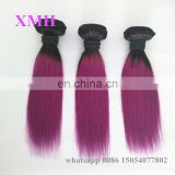 Fashionable ombre black purple silky straight body wave human hair weave purple remy hair