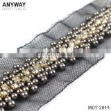 Bulk wholesale Beaded Lace Trim for Birdal Gown Belt Costumes