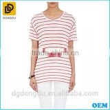 Wholesale 2016 Cheap Custom Pretty Quality Lady Striped Linen T-shirt