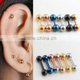 Stainless Steel Tragus Earring Ball Barbell Ear Piercing Black Silver Gold Cartilage Ring Jewelry For Men Women