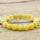 BRG1155 natural gemstone yellow dyed jade bracelet semi-precious stone bead strench bracelet