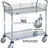 Utility Cart 2-Shelf Wire Shelf w/Rubber Wheel Casters in Chrome
