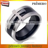 New Black Color Detachable Cross Titanium Stainless Steel Male Ring For Men Fine Jewelry