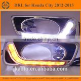 New Arrival With Yellow Trun Signal LED DRL Light Super Quality Daytime Running Light LED for Honda City 2012-2014