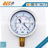 private label stainless steel case bottom connection negative pressure gauge manufacturer