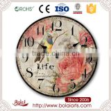 Birds branches flowers bloom wonderful life art clock for living room