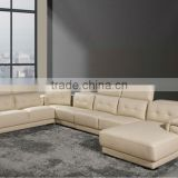 Luxury Dubai Sofa Furniture design large size Italy Leather lounge high back U-shaped corner leather sofa A130-3
