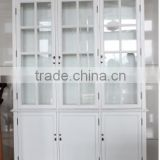 Antique Home useful living room and Study room White Wooden and Glass Tall display cabinet with three doors(NC-2818-10 )