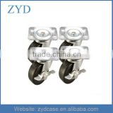 "Set of 4 ea 2"" LP High Capacity Rubber Wheel Locking Plate Casters 2 '' Rubber Wheel Casters ZYD-CS3"
