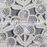 Custom made design Water soluble Embroider Fabric with Sequin white polyster thread Sunflower Textile for Evening dress