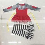 Oem autumn outfit for baby stripe sleeves and pants fancy party little girl boutique outfits