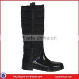 Women's Black slim PVC water-proof long rain boots,Elegance ladies Wellies