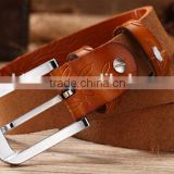 all-match casual ladies and women pattern genuine leather needle fastener slim waist belt with decoration diamond