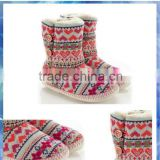 bright heart Fair Isle knit ladies ankle boot/indoor boot/slipper boot