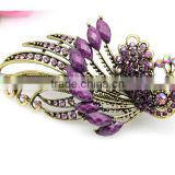 New Design TOP Quality Classic Lovely Vintage Jewelry Crystal Purple Peacock Hairpins Hair Clips