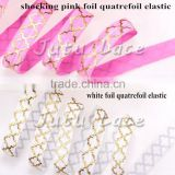 IN STOCK-glitter foil gold fold over elastic webbing quatrefoil foe by 50yards-White & Gold Braided Elastic