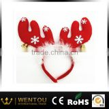 Christmas Deer Ears Headband With Fur And Bells