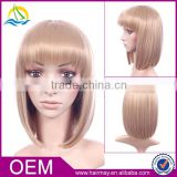 European style new design lolita short wig cheap synthetic blonde bangs wig