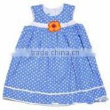 customized children clothing smocking dress sleeveless toddler girls french blue white dots with flowers girls kids apparel