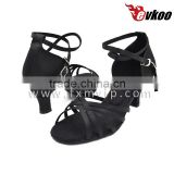 Cheap price High quality satin Latin salsa Ballet ballroom dance shoes black color flat heel girl dance shoes