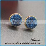 925 Sterling Silver Natural Agate Crystal Birthstone Stud Earrings Druzy Jewelry