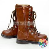 Wholesale Toddler Girls Round Toe Brown Leather Fashion Combat Boots