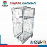 Multifunctional cage pallet, metal storage cage with 4 wheels, stackble metal storage cage