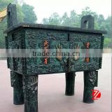 Antique Chinese style casting square bronze Ding statue for sale