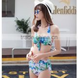 Blue flower print bohimia simple young women beach wear with hats