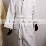 100% cotton one ply two sides waffle and velour bathrobe