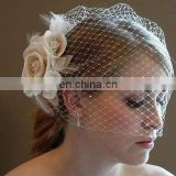 2014 New Arrival Stunning Net Ivory Bird Cage With Flower Wedding Veils