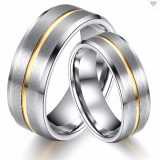 Polished Shiny Yellow Plated Grooved Tungsten Carbide Ring Mens Ring