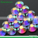 0604L China factory wholesale big size bling bling 288pcs 6mm ss30 clear crystal ab rhinestone hot fix for clothes