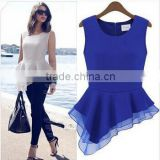 Instyles SUMMER EUROPEAN SLEEVELESS LADIES BLOUSE, CHIFFON BLOUSE, IRREGULAR boutique clothing Clothing