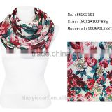 Top Quality Indian Yarn Loop Ring Infinity Scarfs Fashionable Flower Printed Scarf 100 Polyester Scarves