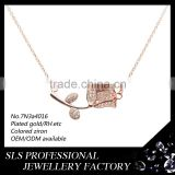 Rose gold plated chain necklace 925 silver material of the flower of life jewelry necklce