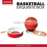 D552 Basketball Gift Set 3 in 1 Toothpick Holder Ashtray Stainless Steel Bottle Opener Frigde Magnet