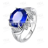 2015 latest popular single big blue neelam stone gold ring designs for women ladies                                                                         Quality Choice