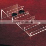 clear countertop acrylic space tray for 5 pairs eyewear/sunglasses/spectacles display tray