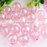 Pink Color Bulk Price 10MM to 20MM Stock Round Acrylic AB Effect Transparent Beads for Chunky Necklace Wholesales
